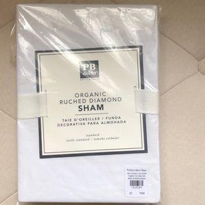 PB dorm organic ruched diamond sham